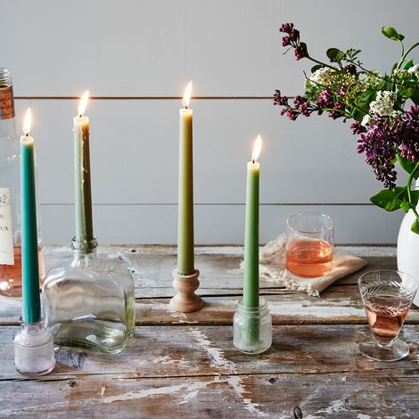 Tapered Spring Green Candles (Set of 8)