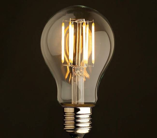 The LED Edison bulb, aglow.
