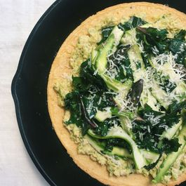 Shaved Asparagus and Kale Socca with Leek Pesto