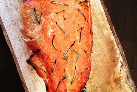 Cedar-smoked, ginger-maple trout