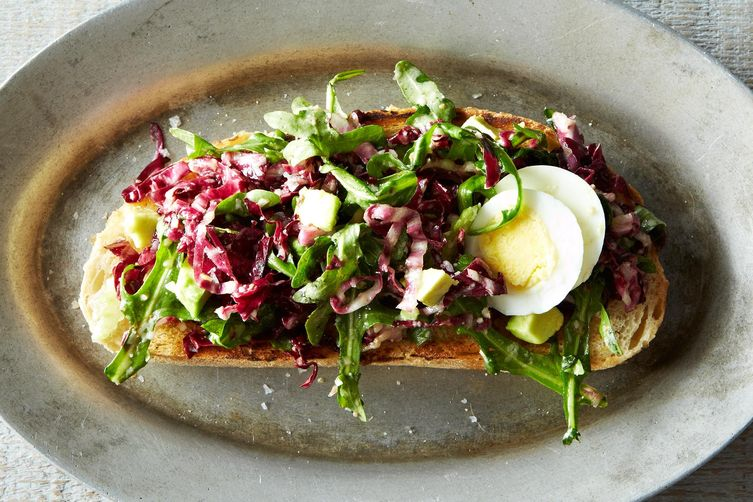 Bagna cauda toasts with radicchio egg and avocado recipe on food