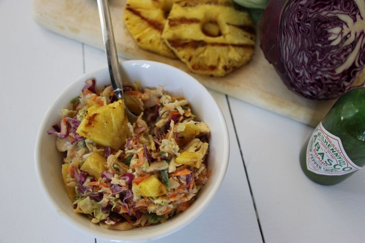 Coconut Jalapeño Slaw with Grilled Pineapple