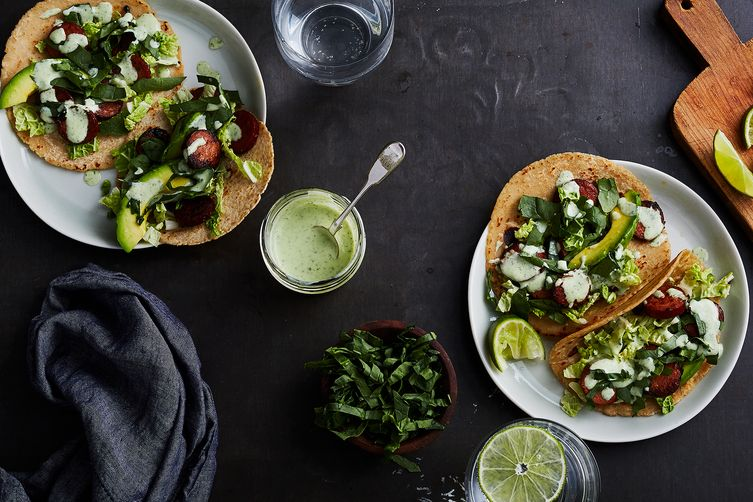 Chorizo Tacos with Slaw and Avocado