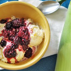 Corn Ice Cream with Blueberry, Blackberry Compote
