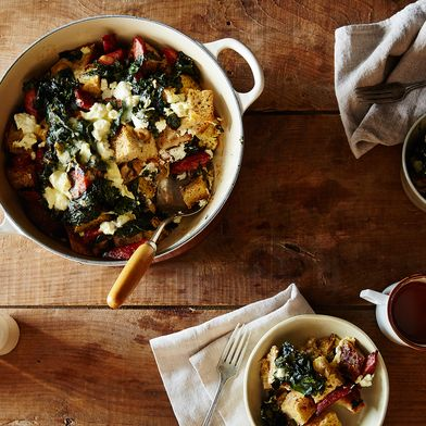 Mushroom, Kale, and Sausage Strata