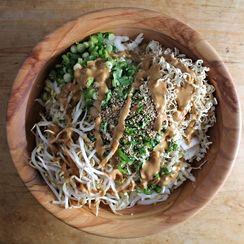 Napa Cabbage Salad + Peanut Dressing