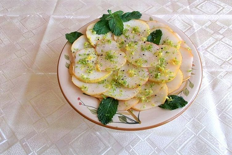 Pear Carpaccio with Lemon-Lime and Mint Vinaigrette
