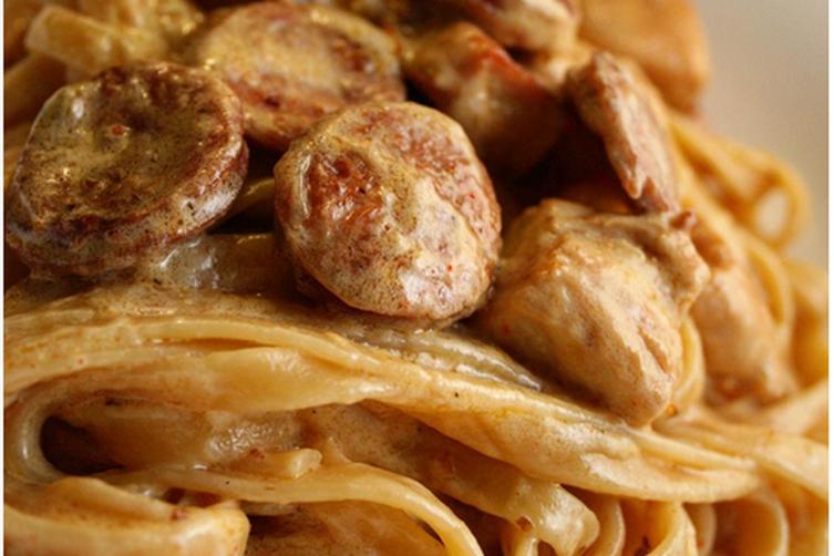 Cajun Chicken & Andouille Sausage Pasta with Garlic Parmesan White Wine Sauce