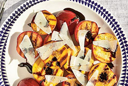 Grilled Stone Fruit with Balsamic Glaze & Cheese