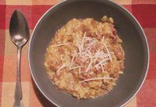 Saffron Risotto with Porcini Mushrooms and Sausage
