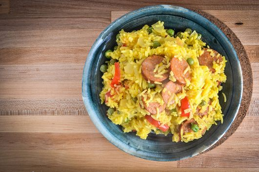 Saffron And Paprika Rice With Smoked Andouille Sausage