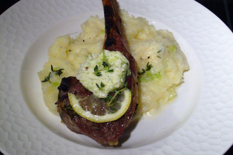 Grilled Double-Cut Lamb Chops, Green Garlic Herb Butter, Green Garlic Mashed Potatoes