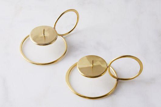 Handmade Brass Buenos Noches Candleholders (Set of 2)