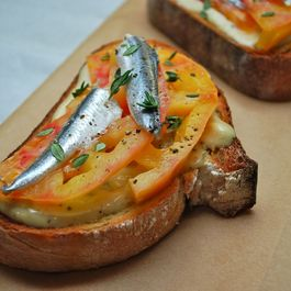 anchovy & tomato toasts with anchovy aioli