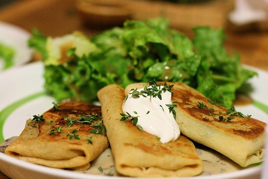 Sweet Peas Blintzes with Spanakopita Filling