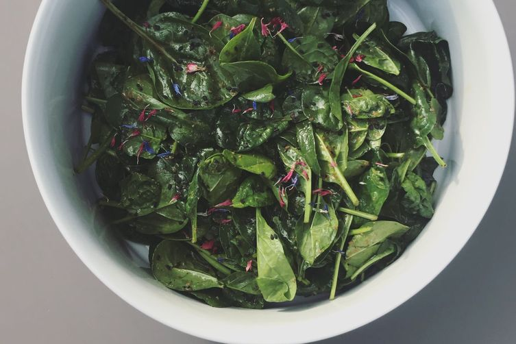 Spinach Truffle Salad with Yuzu Dressing