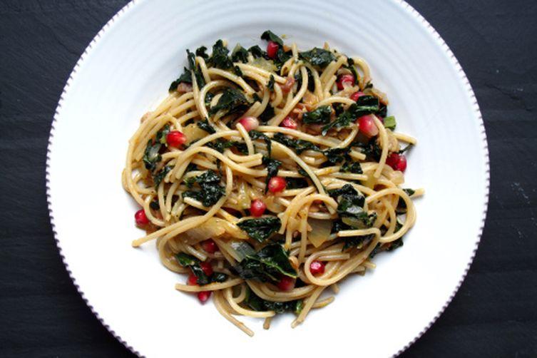 Pomegranate, Kale & Pancetta Spaghetti