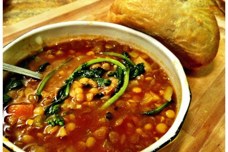 Broccoli Raab Curry Lentil Soup