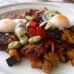 Ratatouille with corn galettes, anchovy and poached quail eggs