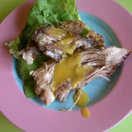 Roasted Pork Shoulder with Mustard Ginger Sauce