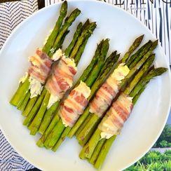 Asparagus Stacks with Pancetta & Sweet Hibiscus Cream