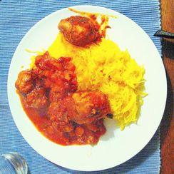 Turkey meatballs on spaghetti squash in a bell pepper ragu