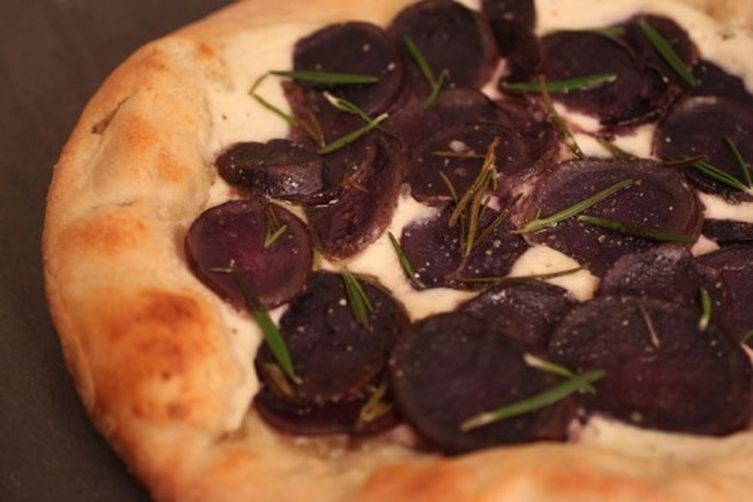 Roasted Purple Potato Pizza with Ricotta and Rosemary