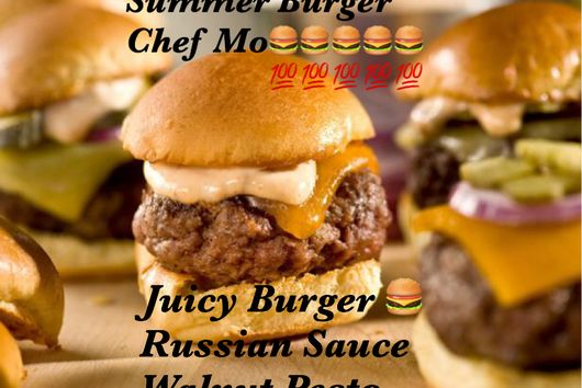 Juicy Butter Burger Sliders with Sweet Russian Sauce and Arugula Pesto