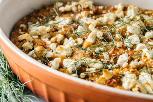 roasted red pepper fennel dip with harissa & feta