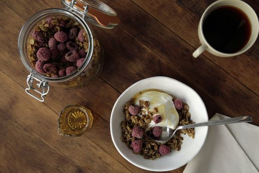 Tahini Cardamom Granola with Raspberries