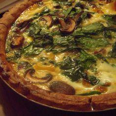 spinach, mushroom, and mozzarella quiche