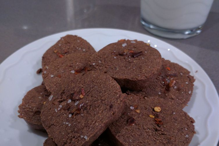 Chocolate Icebox Cookies with Red Pepper Flakes and Sea Salt