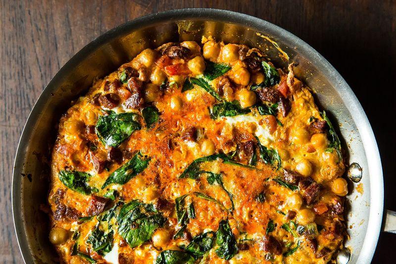 Chickpea, Spinach, and Chorizo Frittata