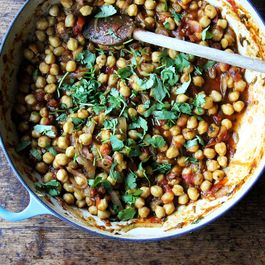 """Stewy Chickpea """"Tagine"""" with Tomatoes, Cilantro and Golden Raisins"""