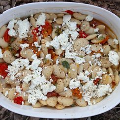 Baked Gigante Beans with Slow Roasted Tomatoes & Goat Cheese