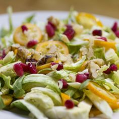 Brussels sprouts, pomegranate and kumquat salad