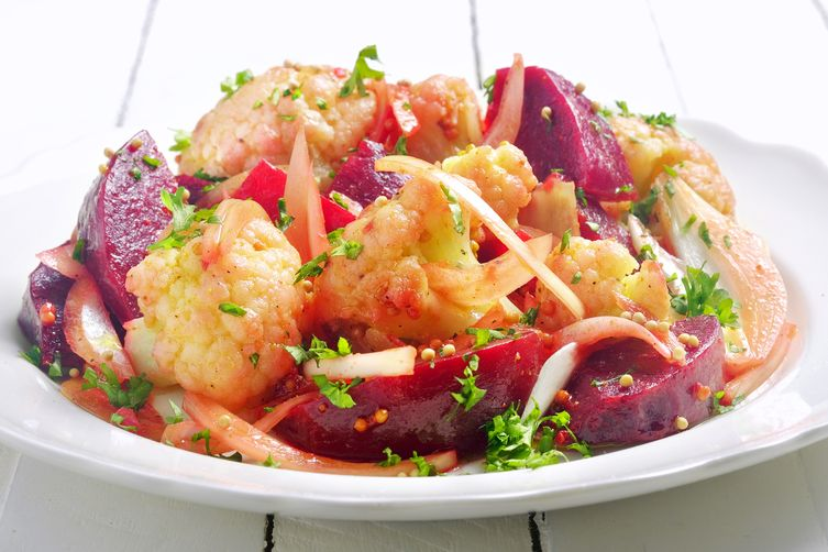 Cauliflower & Beet Salad in Curry-Mustard Vinaigrette