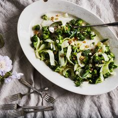 Dinner Tonight: Shaved Broccoli Stalk Salad with Soft Feta & Golden Raisins