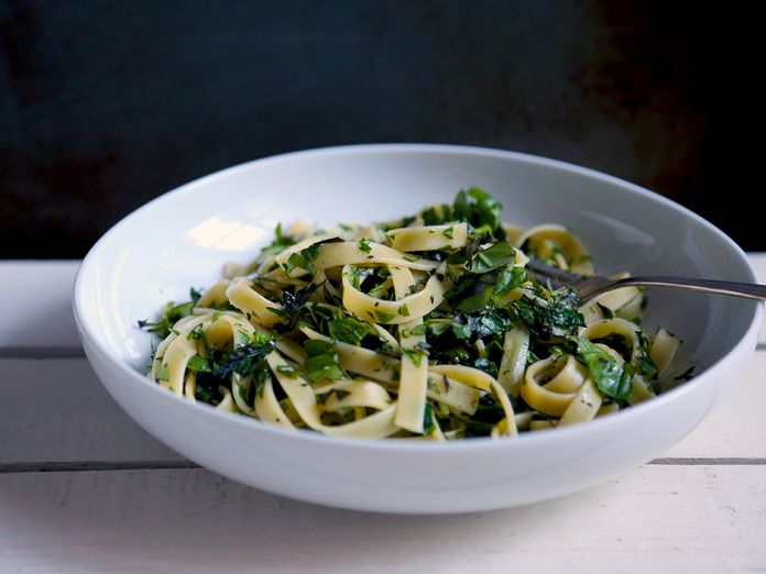 A Bright Green, Crushed-Herb Pasta for Summer