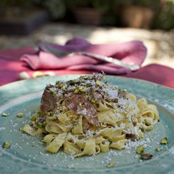 Tagliatelle with Parma Ham and Pistachios