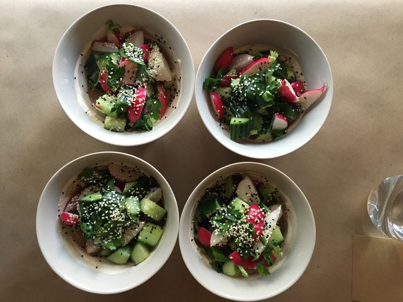 Cucumber and Radish Salad with Harissa Yogurt