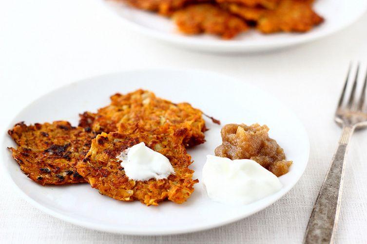 Spiced Sweet Potato Latkes with Yogurt