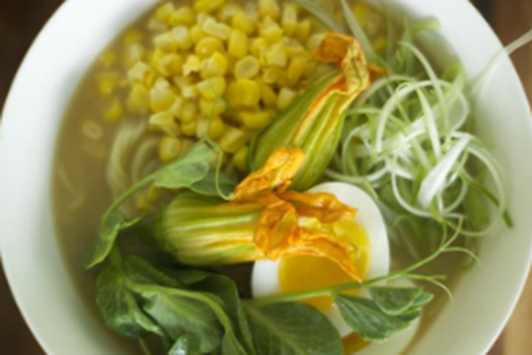 Ramen with Farm Fresh Eggs and Spring Vegetables