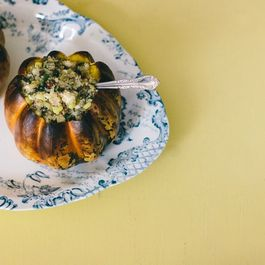 Carnival Squash Stuffed with Quinoa, Corn, and French Lentils