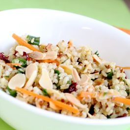 Roasted Almond and Cranberry Quinoa and Bulgur Salad