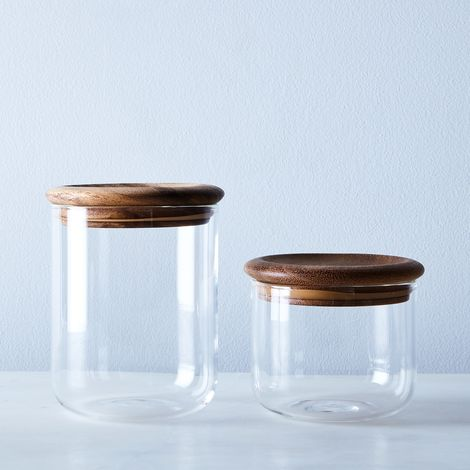 Baum Glass & Wood Airtight Canisters (Set of 2)