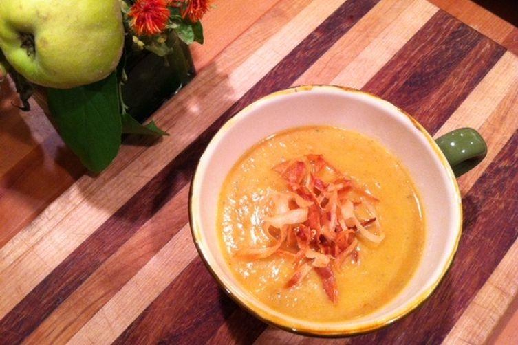 Pumpkin Apple Soup with Salsify Garnish