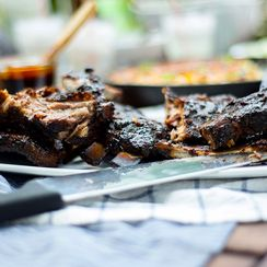Grilled Ribs with Spicy Harissa BBQ Sauce