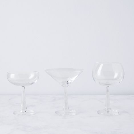 Hand-Blown Retro Cocktail Glasses (Set of 2)