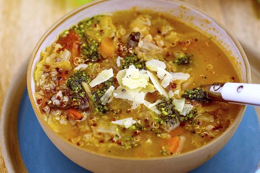 Quinoa Minestrone with Kale Pesto
